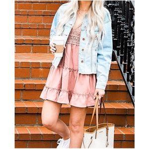 Boho Pink Floral Crochet Back Tie Ruffle dress